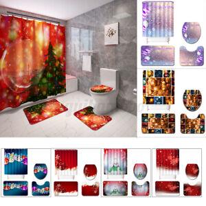 Weihnachten-Badezimmer-Duschvorhang-Deckel-Mat-Badematte-Badteppich-Badvorleger