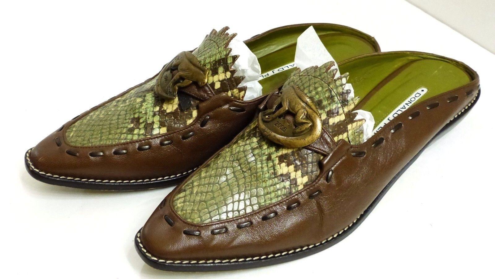 EUC Donald J. Pliner Iguana S1 Women's 6 1 2 M Brown Green Leather Mules