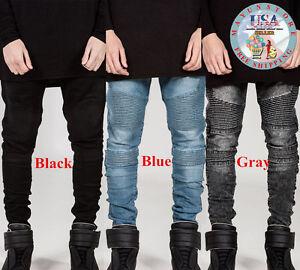 Fashion Classic Men's Slim Fit Straight Biker Jeans Trousers Casual Pants Lot