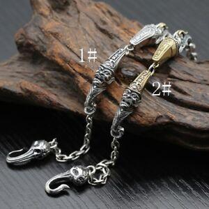 Real-925-Sterling-Silver-Bracelet-Black-and-white-Impermanence-Azrael-Skull-Link