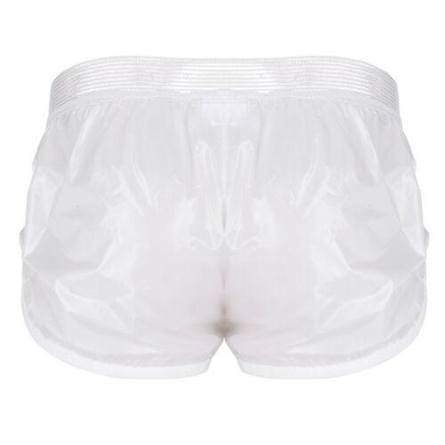 Mens Fashion Swim Shorts Wet Look Leather Boxer Briefs Trunks Sports Short Pants