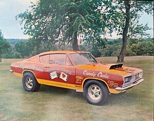 """Plymouth Barracuda Postcard, """"Candy Cuda Drag Racer"""""""