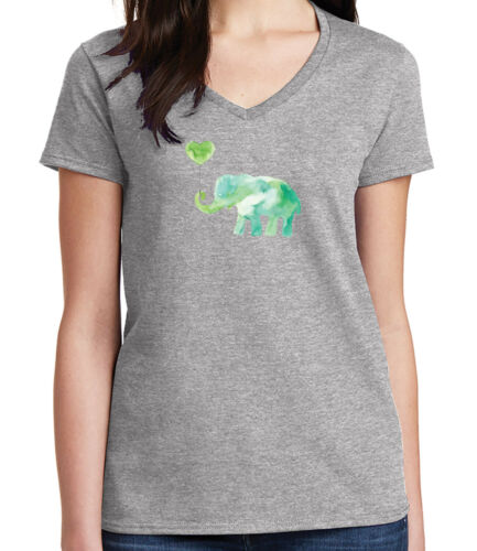 1955C Neck T-shirt Cute Animal Print Tee Lovely Green Elephant Ladies V