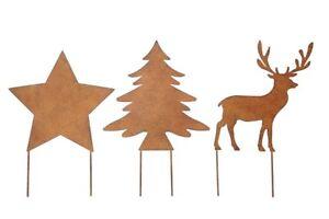 Weihnachtsdeko-Stecker-STERN-BAUM-HIRSCH-fuer-Beet-Balkon-Metall-ROST-Gartendeko