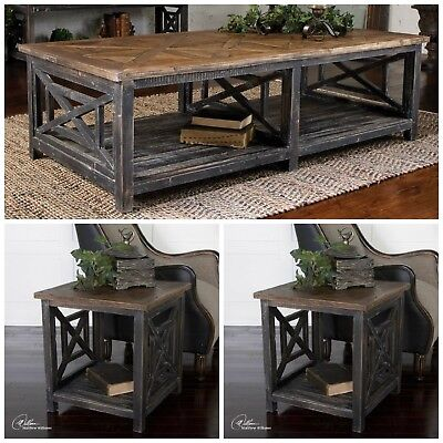 Cool Farmhouse Decor Aged Worn Reclaimed Fir Wood Coffee Table Two End Tables 792977242643 Ebay Ocoug Best Dining Table And Chair Ideas Images Ocougorg