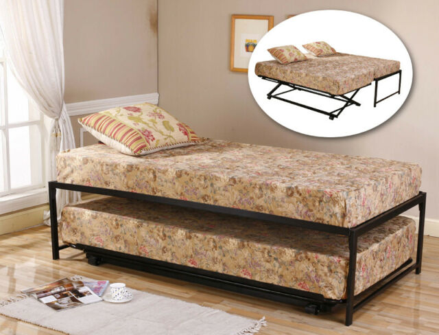 Black Metal Twin Size Hirise Day Bed Daybed Frame Pop Up
