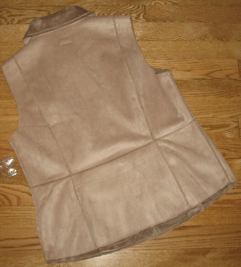 Womens Faux Suede Vest Vest Vest Dressy Plush Lined TABI Beige Tan Career Medium NEW fe2380