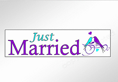 Wedding bumper sticker. Just Married  pair of blue and purple love birds 200 mm