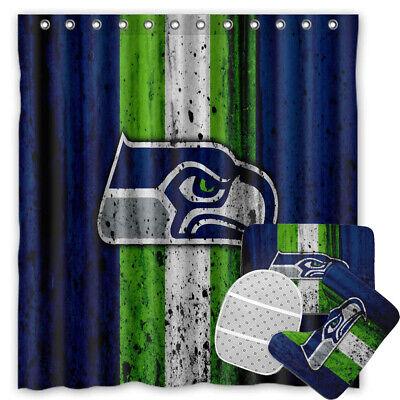 Seattle Seahawks Design Fabric Waterproof Shower Curtain Bathroom Accessory Set