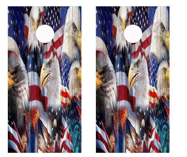 Patriotic American Flag Multi Bald Eagle Cornhole  Board Wraps FREE SQUEEGEE 2222  cheap online
