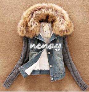 in a caldo maniche in lunghe Cappotto pelliccia denim foderata fxHw5nA