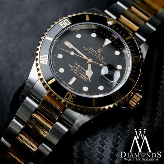 Men's Rolex Submariner 40mm 18K 2 Tone Gold & Steel Black Index Dial Watch 16613