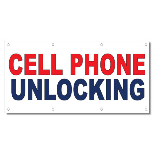 Cell Phone Unlocking Red Blue 13 Oz Vinyl Banner Sign With Grommets