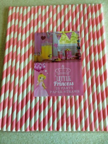 Little Princess Pink and White 25pcs Striped Paper Drinking Straws