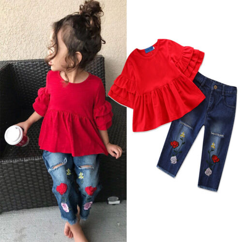 Embroidery Jeans Denim Pants Summer Clothes Sets 2PCS Kid Baby Girl Ruffle Tops
