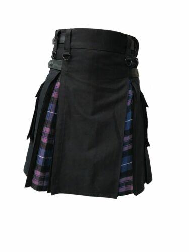 Men/'s Hybrid Black Cotton /& Tartan Pride Of Scotland Utility Kilt