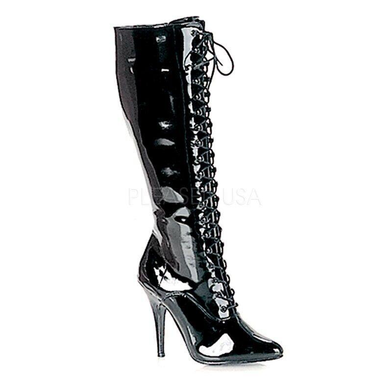 PleaserUSA tacón tacón PleaserUSA alto-rodilla botas seduce - 2020 charol negro e0ff23