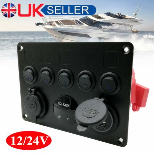 Electrical Control Panel 6 Gang Switch USB Marine Boat 12V Caravan Motorhome