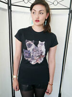 Women's Cat Collage Cats T-shirt Ladies Cats Top Kitten T-shirt Pets Fitted New