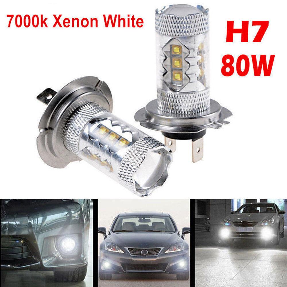 H7 Led Bulb Z1000: 2 X H7 80W CREE LED Fog DRL Driving Car Head Light Lamp
