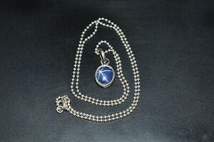 """Precious Gemstone Natural Star Sapphire Stone Pendant 925 Silver Curb Chain 18/"""""""