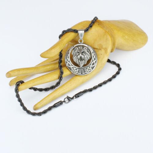 Löwen-Anhänger mit Kordel-Kette Edelstahl Black Gun Matt-Schwarz Herrenkette