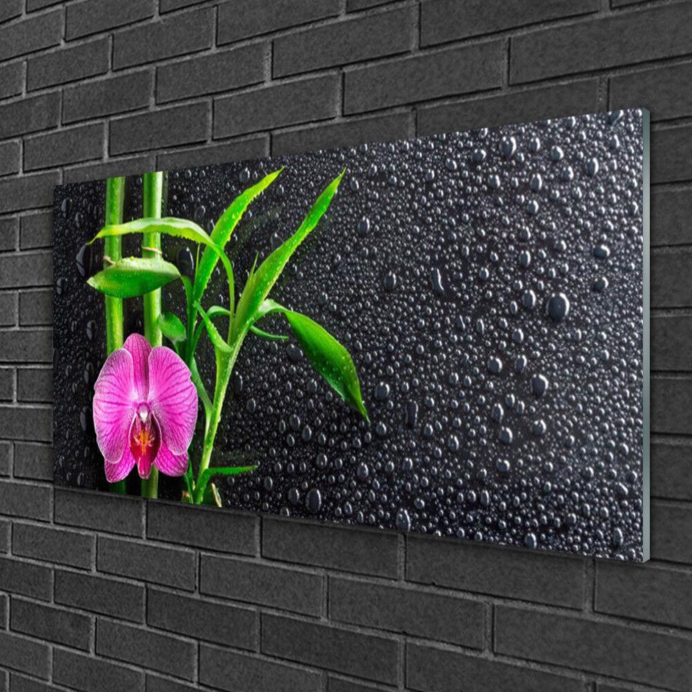 Image sur verre Tableau Impression 100x50 Floral Fleur Bambou
