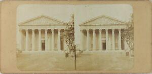 Francia-Parigi-Chiesa-Da-La-Madeleine-Foto-Stereo-Vintage-Albumina-Ca-1860