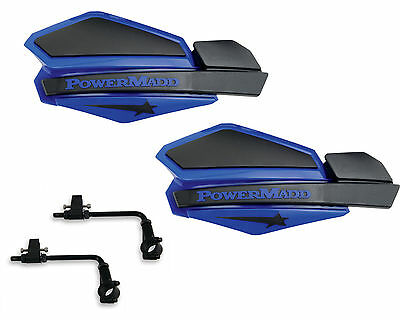 Black  ATV Honda Powermadd Star Series Handguards Guards Tri Mount Black