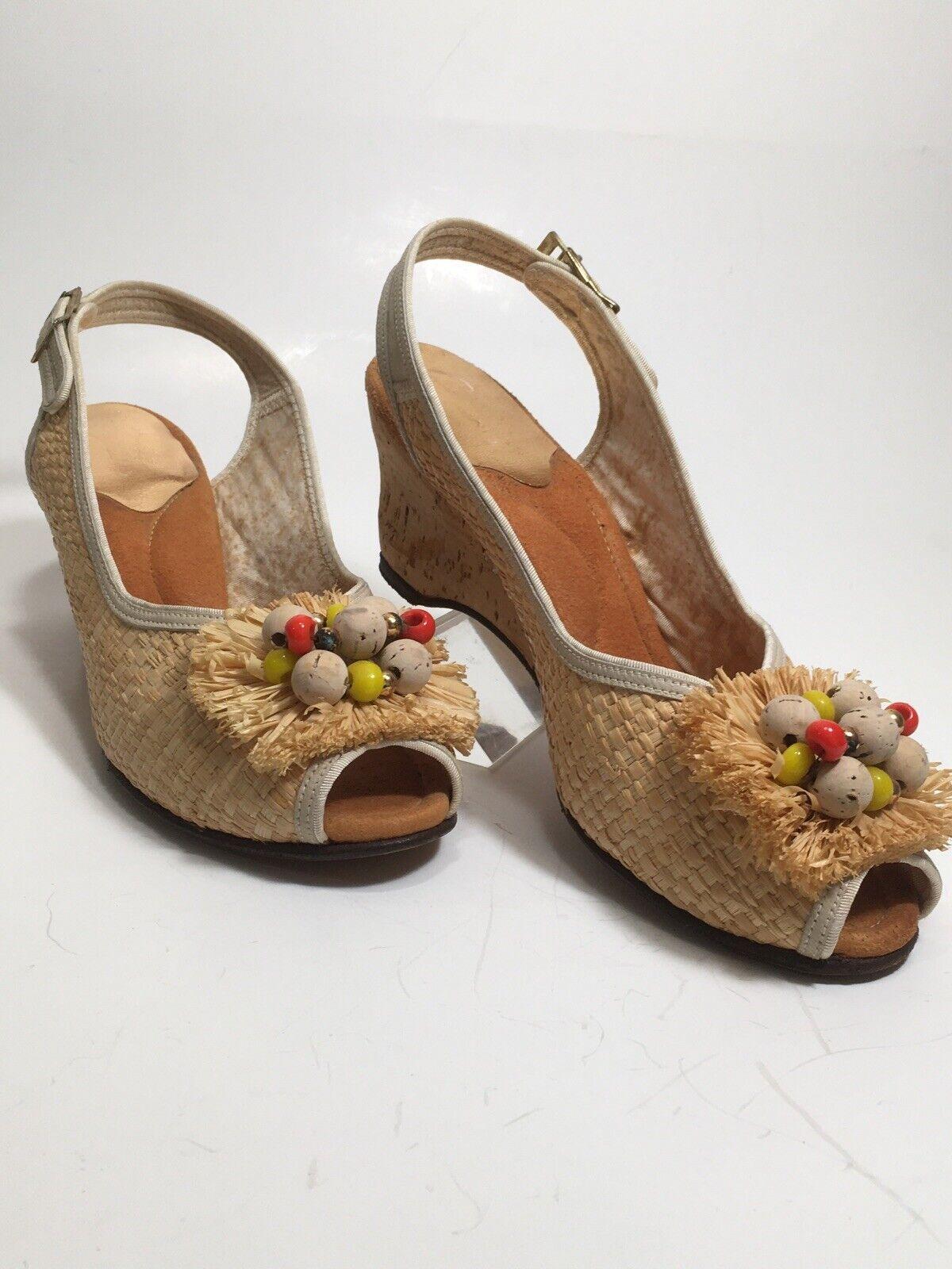 Vintage 40s Shoes Platform CORK Wedge Sandals Str… - image 4