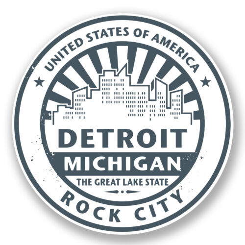 2 x 10cm Detroit USA Vinyl Decal Sticker Travel Luggage Tag Label Michigan #5893