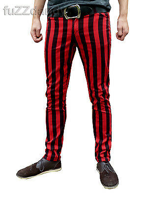 Herzhaft Mens Drainpipes Trousers Skinny Jeans Vtg Indie Mod Striped Black Red Hipsters