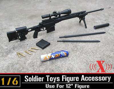 "1:6 X Toys US Army MSR Modular Full Metal Sniper Rifle Black USMC F 12"" Figure"