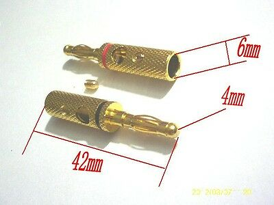 2pcs copper Gold plated Speaker 4mm banana plug connector Cable Wire