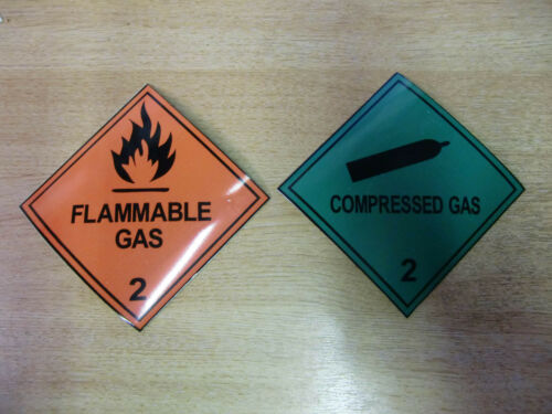 """/""""Flammable Gas/"""" MAGNETIC Warning  Signs Combo pack 100mm /""""Compressed Gas/"""""""