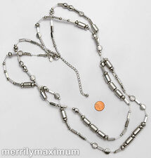 Chico's Signed Beautiful Double Strand Long Multi Bead Necklace Silver Tone