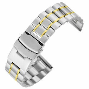 Black/Silver/Gold/Blue 18/20/22mm Stainless Steel Band Watch Strap Straight End