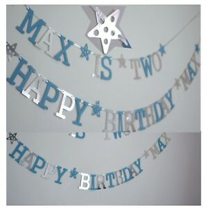 Image Is Loading Personalised BOYS 1st BIRTHDAY BANNER BLUE CAKE SMASH