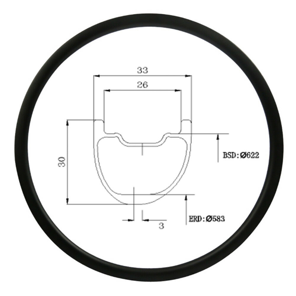 Asymmetric Carbon Mountain Bike Rim 29er 30mm Depth 33mm Wide Tubeless 28 32H UD
