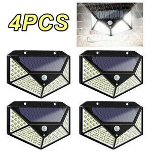 2/4PCS 100 LED PIR Lumiere solaire capteur de mouvement étanche lampe extérieure
