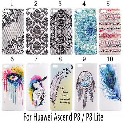 Rubber Soft TPU Paint Clear Back Case Cover Skin For Huawei Ascend G7 P8 Lite