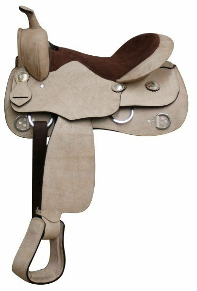 Economy Rough Out Leather Training Saddle.  Full QH Bars  16