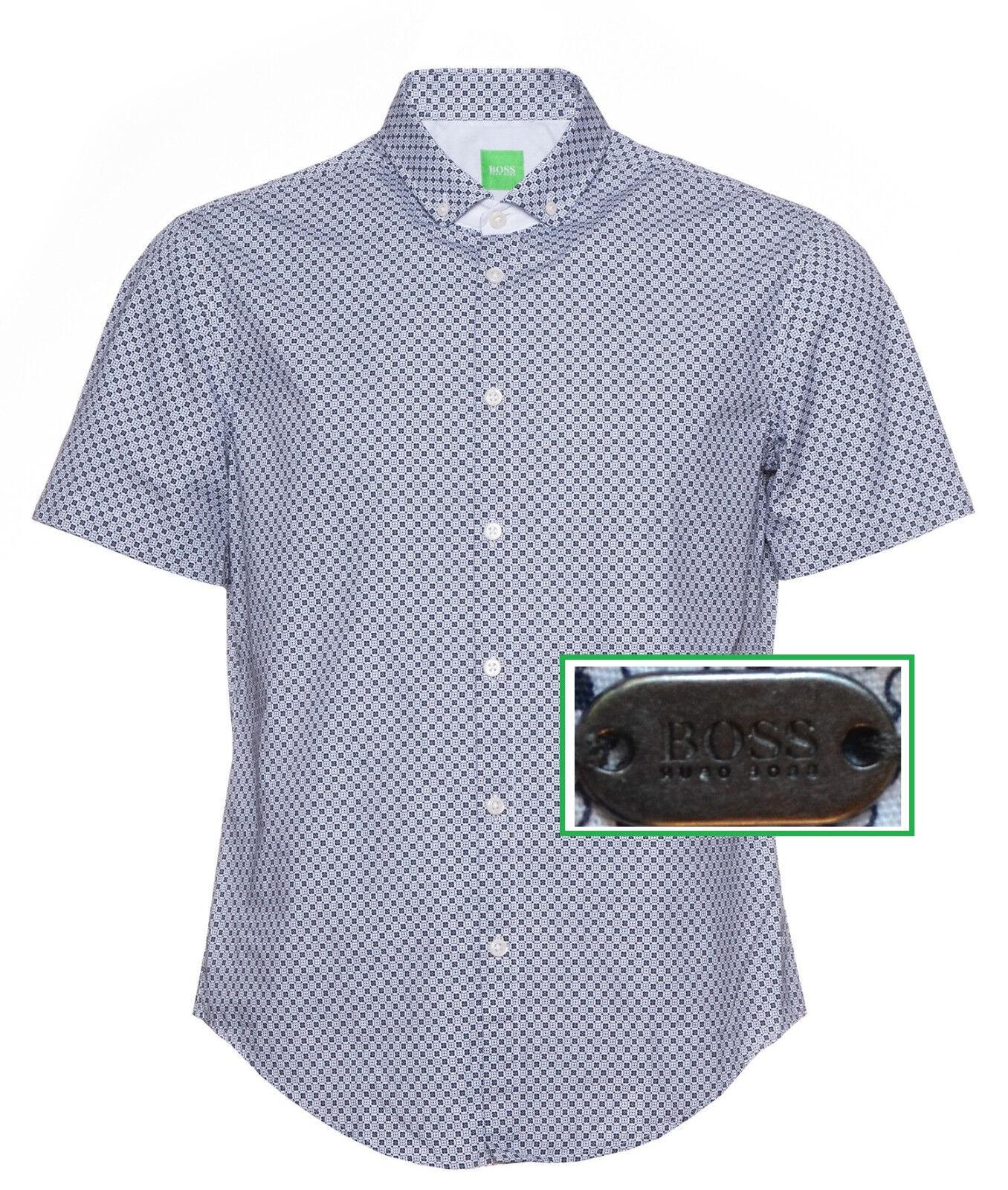 NWT Hugo Boss Green Label By Hugo Boss Slim Fit Geometric Printed Sport Shirt