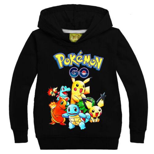 Kids Boys Girls Pikachu Cartoon Hoodies Long Sleeve Sweatshirt Pullover Tops UK