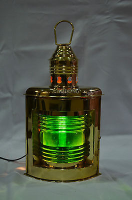 """10/"""" Nautical Solid Brass Port Electric Lantern Green Color"""