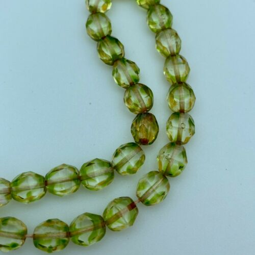 Faceted Picasso Greenish Brown Czech Glass GCG39 8mm