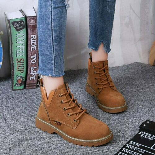 Women/'s Autumn Winter  Lace Up Boots Flat Ankle ShoesBoot Wild Boots