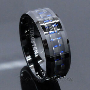 Mens Tungsten Ring with Carbon Fiber 8mm Black and Blue Wedding