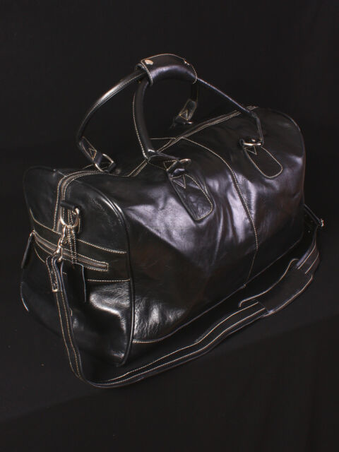 LARGE HOLDALL (Black Glazed Cowhide) Weekend Travel Gym Duffle Real Leather Bag