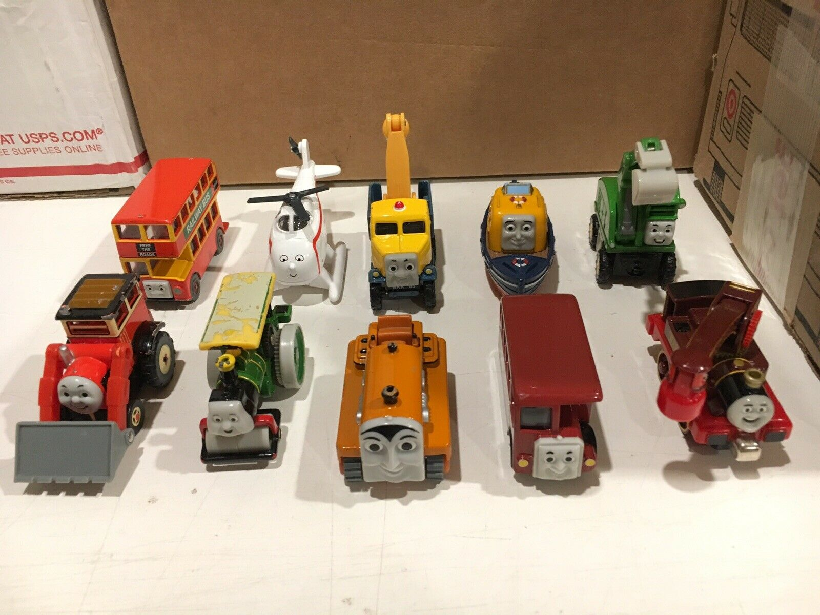 10 Diecast Thomas & Friends Take N Play Construction, Bus, Helicopter, Boat